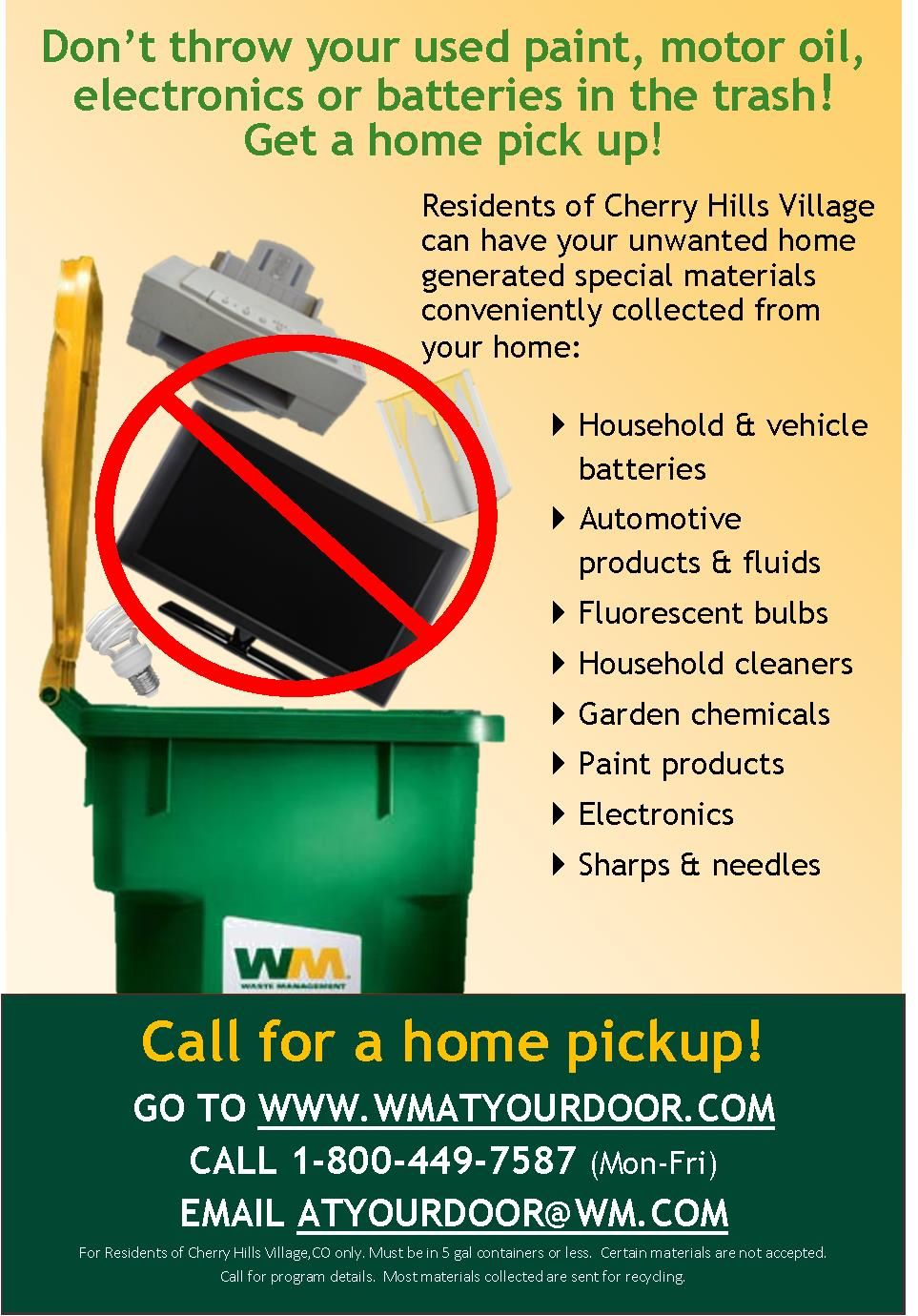 At Your Door Curbside Flyer with detailed text
