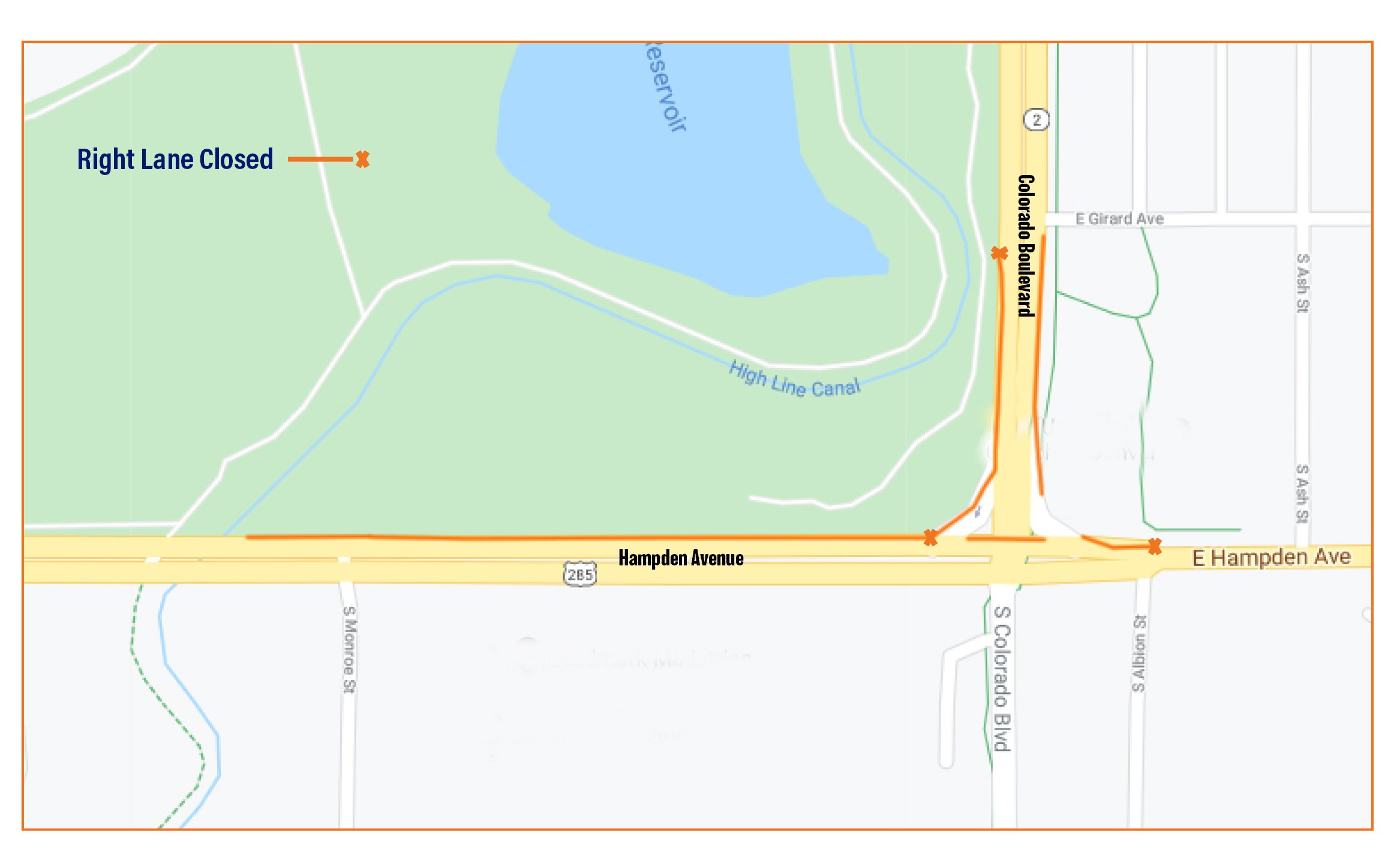 Lane Closures for Hampden Colorado Underpass Project