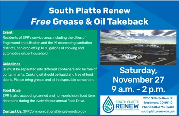 South Platte Renew Grease and Oil Takeback Event Nov 28 2020